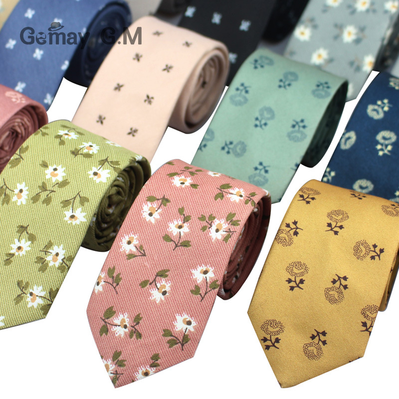 Cotton Ties For Men Flora Print Mens Necktie Fashion Casual 6cm Slim Skinny Tie For Wedding Party Business Flowers Necktie