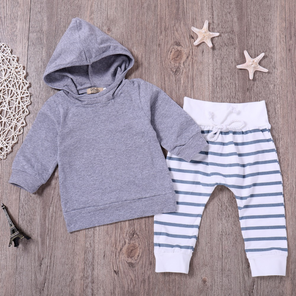 2pcs 2018 New autumn baby girl Boys clothes set Newborn Baby Boy Girl Warm Hooded Coat Tops+Pants Outfits Sets