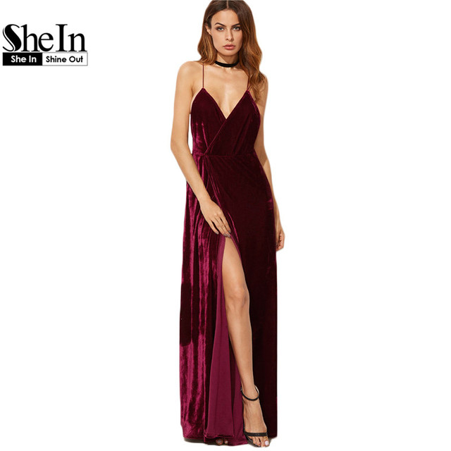 SheIn Burgundy Party Dresses Women Velvet Sexy Club Dress Spaghetti Strap Deep  V Neck Backless Wrap ab4df5cb2b90