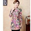 Цветок весна осень китайский традиции женщины в 100% хлопок куртка пальто M L XL XXL 3XL HB3462