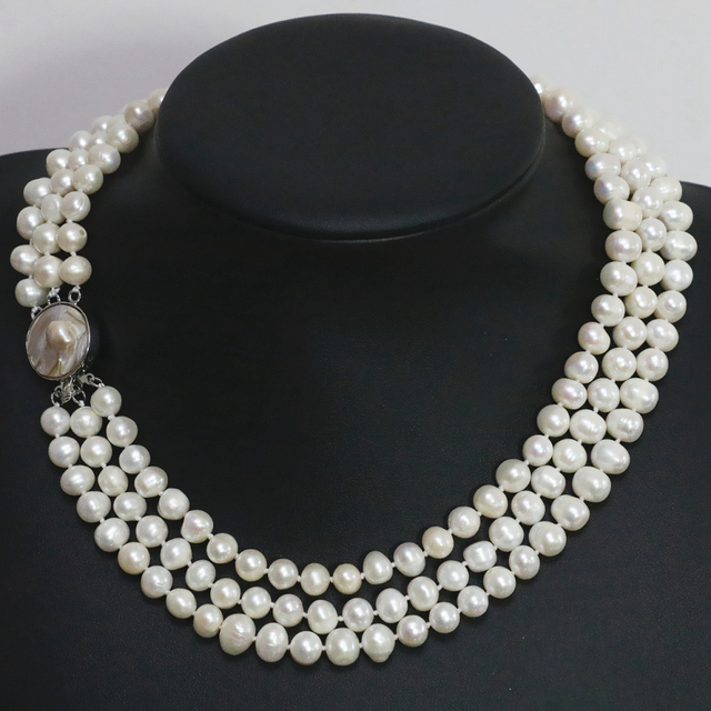 7-8mm natural white freshwater pearl 3 rows necklace round beads mother shell clasp elegant women jewelry making 17-19inch B1475