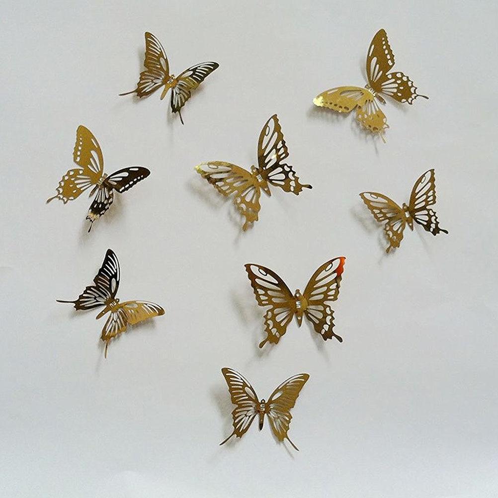 6 Stücke 6*5 Cm Metall Schmetterling Dekor Wand Verschönerung 3D Wand Kunst  Aufkleber Dekoration (Gold)
