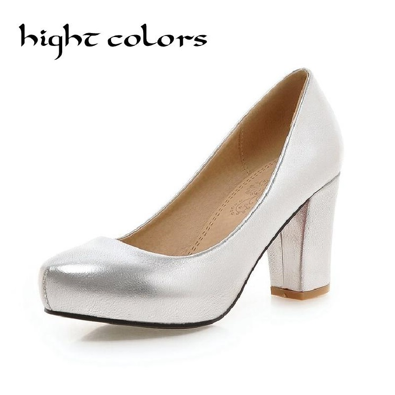 Women Clasiscal OL Pumps Spring Med Heels Offical Shoes Size 32 43 Square High Heels Party