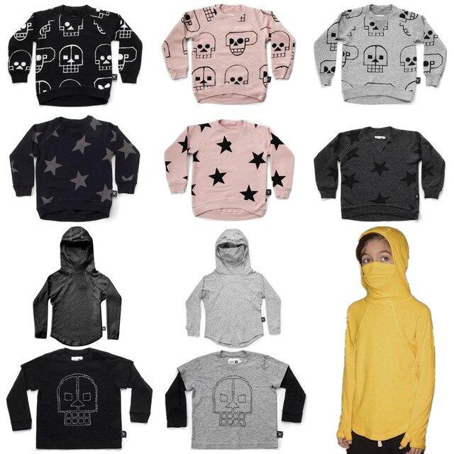 Automne Nouveau Nununu Enfants À Manches Longues T-shirts Garçons Crâne  Robot   star Sweat aa4eb1312851