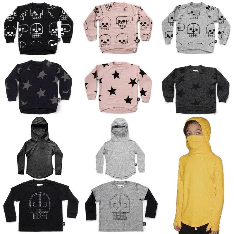 Autunno Nuovo Nununu Bambini Manica Lunga T-Shirt Dei Ragazzi Del Cranio Del Robot & stella Felpa Bambino Della Ragazza Magliette e camicette Ninja Vestiti Camicia 1-9Y