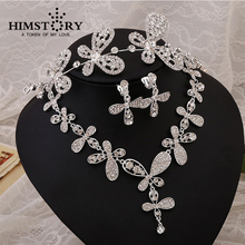 HIMSTORY Promotional  Wedding Jewelry Set Crystal Rhinestone Butterfly Headpiece Necklace Earring 3pcs Set