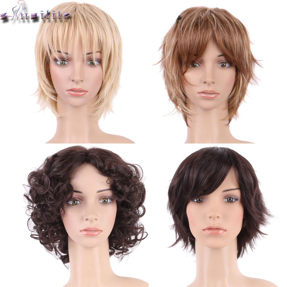 S-noilite Hair Short Black Mix Wig Natural Straight Synthetic Wigs For Black Women Heat Resistant Female Hair Pieces