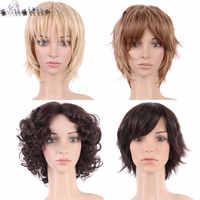 S-noilite cheveux courts noir mélange perruque naturel droite perruques synthétiques pour les femmes noires résistant à la chaleur pièces de cheveux féminins
