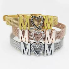 New Womens Stainless Steel MOM Letters Bracelet Jewelry Mothers Day Gifts Heart Shape Pendant mesh Cuff Bangle wrap bracelets