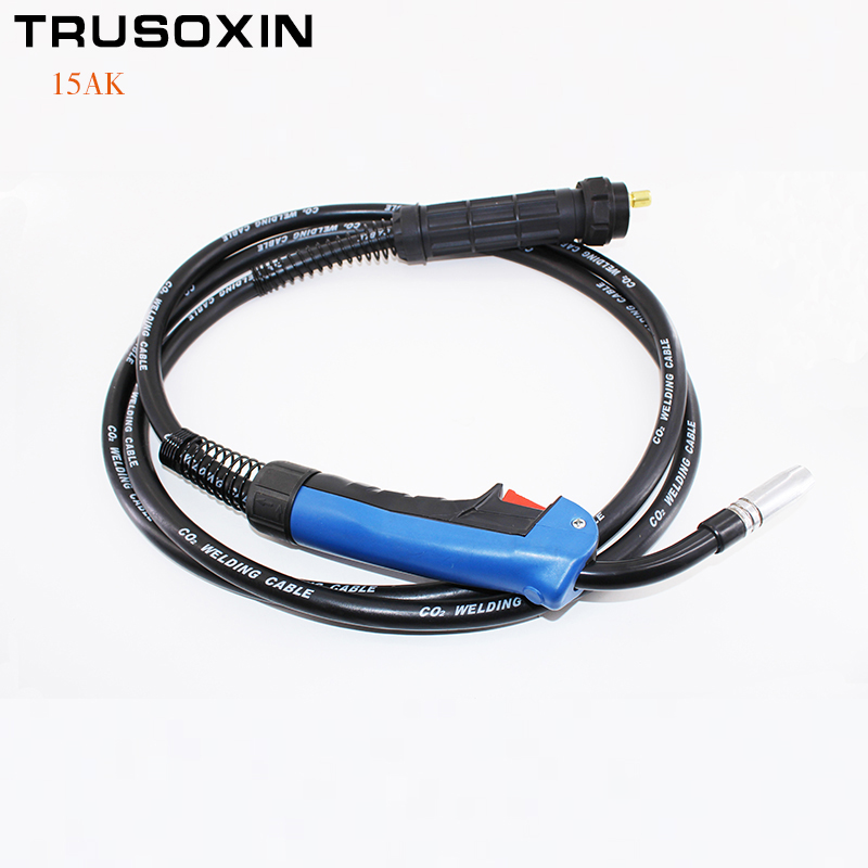MIG MAG Welding Machine/Equipment Accessories 2M Binzel 15AK Welding Torch/Gun with EU Connector for MIG MAG Welding Device mig wire feeder motor 76zy02a dc24v 18m min for mig welding machine