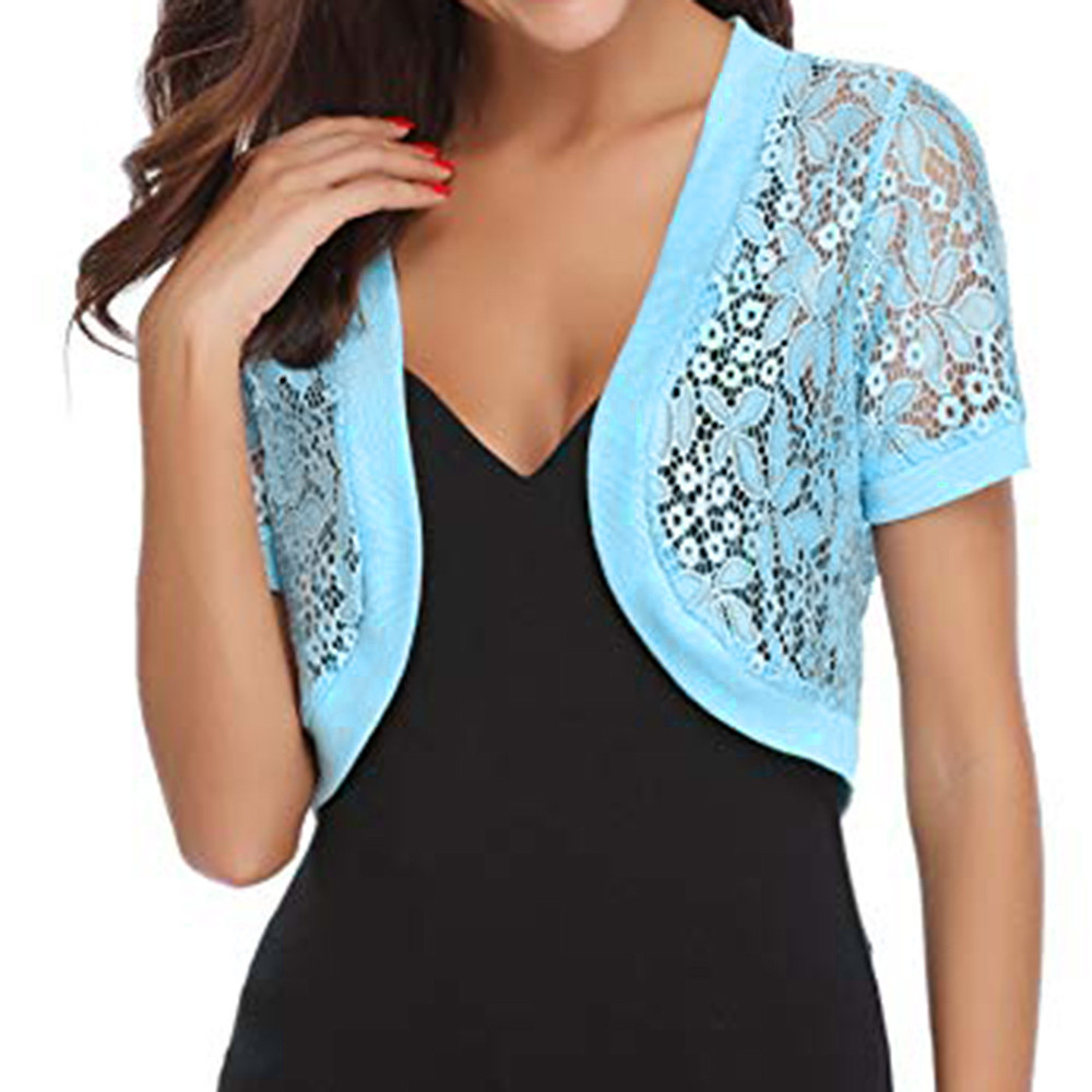 Womens Casual Solid Short Sleeve Floral Lace Shrug Open Front Bolero Cardigan Womens Tops and Blouses Blue L