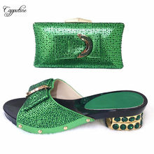 Latest green medium heel African slipper shoes and purse bag set with rhinestones CSB13(China)
