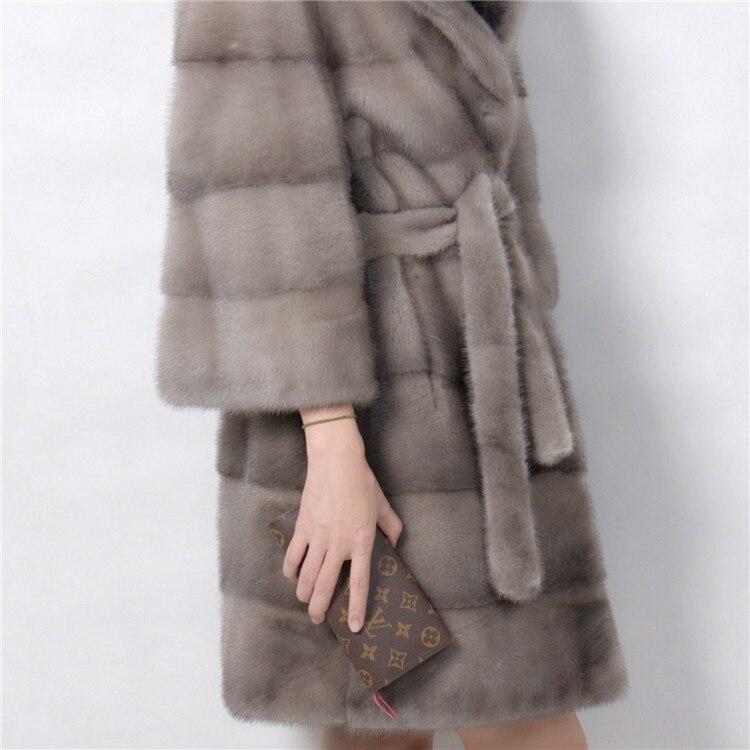 Echter Nerzmantel mit Umlegekragen Lichtfarbe 100% natürlicher - Damenbekleidung - Foto 6