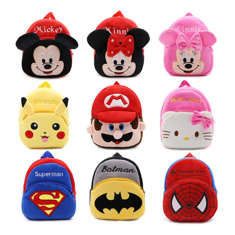 Cute High Quality Blue Plush Cartoon Toy Hero Baby Backpack kindergarten Boy Character School Bag Gift For Kids and Children