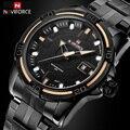 NAVIFORCE Marca de Luxo dos homens Relógios Desportivos Militares Dos homens À Prova D' Água Completa Aço Homem Relógio de Quartzo Preto Relógio relogio masculino