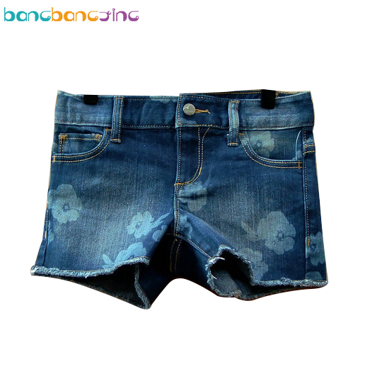 Hot Sale Girls Denim Shorts 2017 Summer Brand Baby Girl Shorts Kids Jeans Floral Fashion Children Trousers Big Girl Short women s floral embroidery denim shorts 2017 summer fashion hight waist short jeans femme cotton shorts plus size xl e984