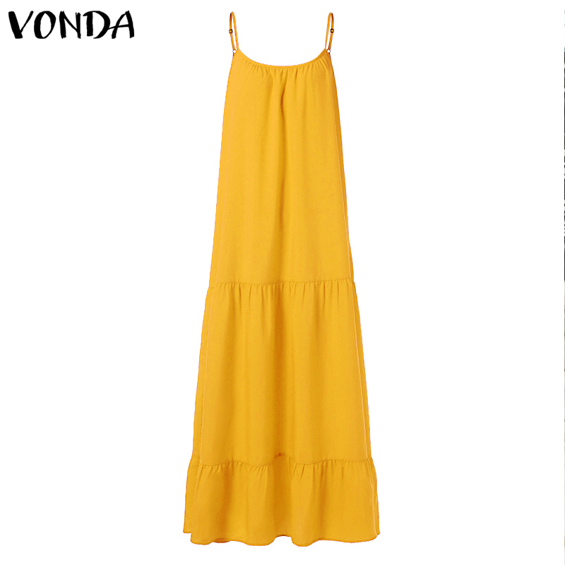 VONDA Bohemian Dress Women 19 Summer Sexy Sleeveless Spaghetti Strap Ruffle Swings Maxi Long Dresses Holiday Vestido Plus Size 12