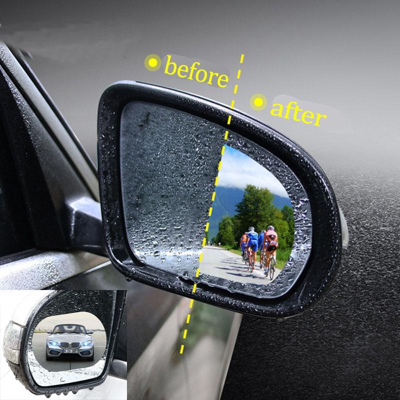 2PC Anti-Fog Film Car Rearview Mirror Sticker Rainproof Film Window Glass Shield