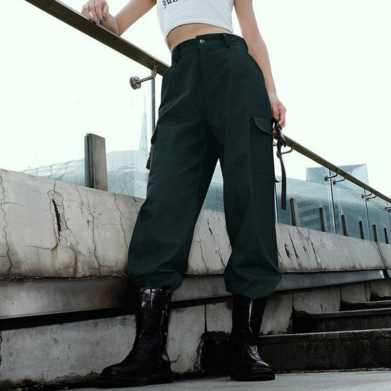 ADISPUTENT Streetwear Cargo Pants Women Casual Joggers Black High Waist Loose Female Trousers Korean Style Ladies Pants Capri 12