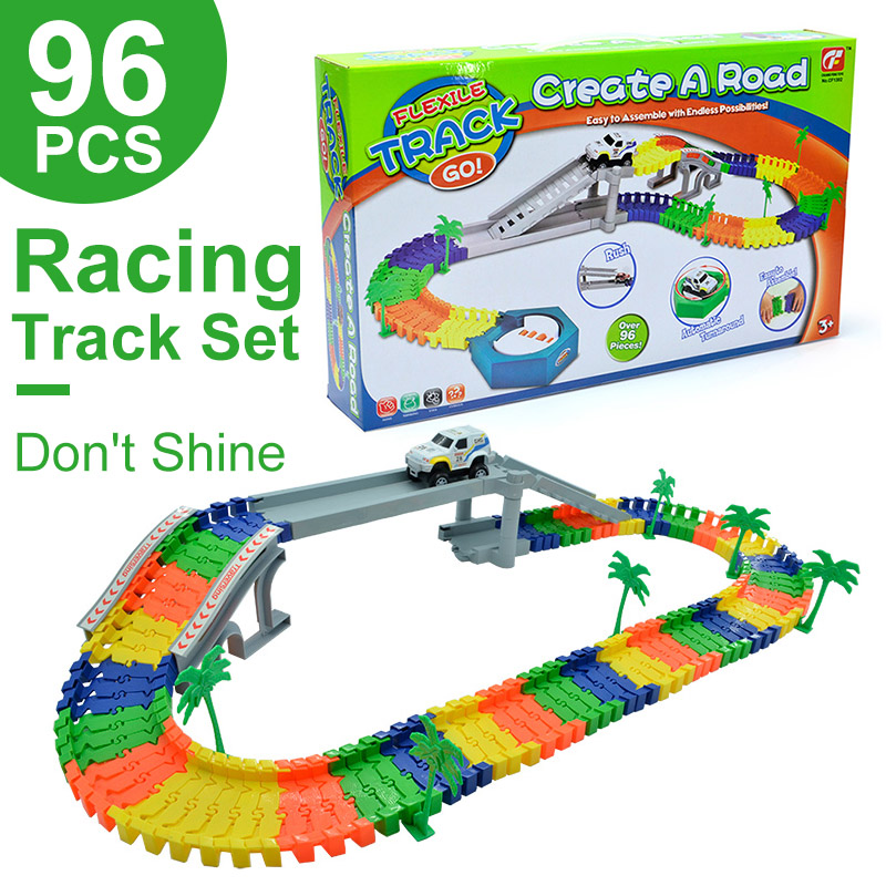 US $22 58 40% OFF|96PCS Turntable Race Track Bend Flex Racing Track Car Toy  Set Electric Car Ramp Rail Car Model Set Gift Toys For Children Boys-in