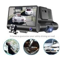 4 «1080 P три объектива Автомобильный dvr Dash Cam камера видеокамера регистратор ночного видения/g-сенсор/Обнаружение движения/петля запись