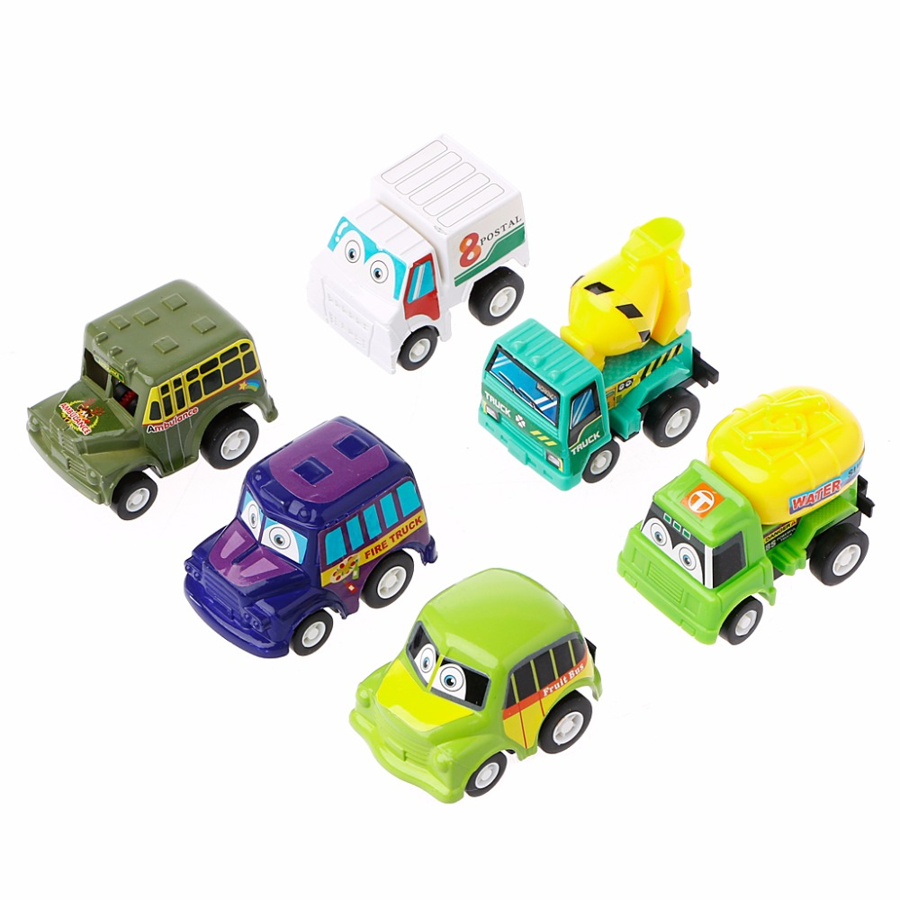 New 6Pcs Classic Boy&Girl Truck Vehicle Kids Child Toy Mini Small Pull Back Car image
