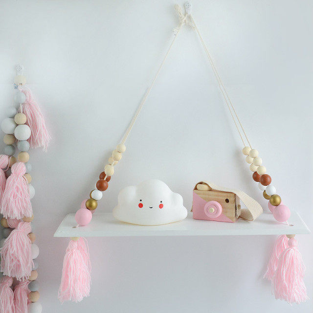 creative baby room wooden beads wall shelf storage wall decorations photography props decor christmas ornament gifts - Christmas Shelf Decorations