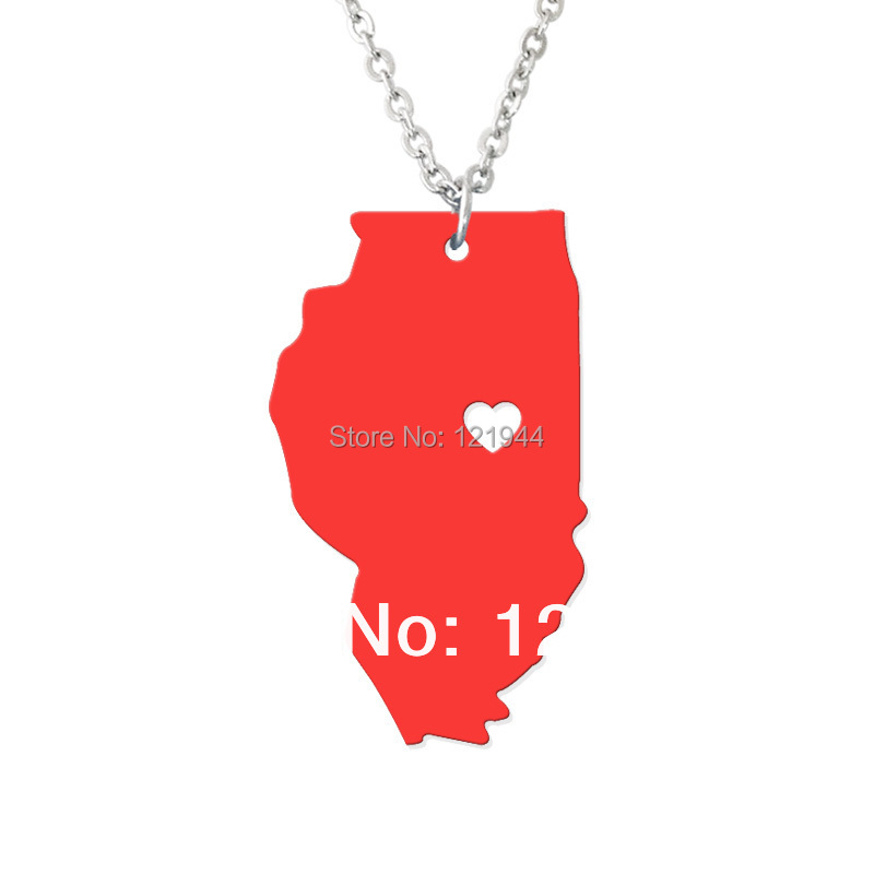 Custom Charm Map Necklace Illinois Map Pendant - State Charm IL Map Heart necklace-Personalized pendant