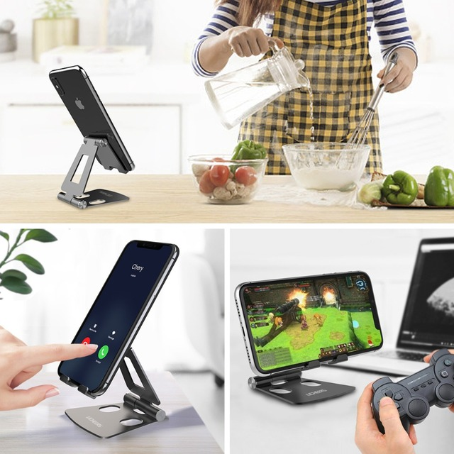 LINGCHEN Phone Holder Stand for iPhone 11 Xiaomi mi 9 Metal Phone Holder Foldable Mobile Phone Stand Desk For iPhone 7 8 X XS 3