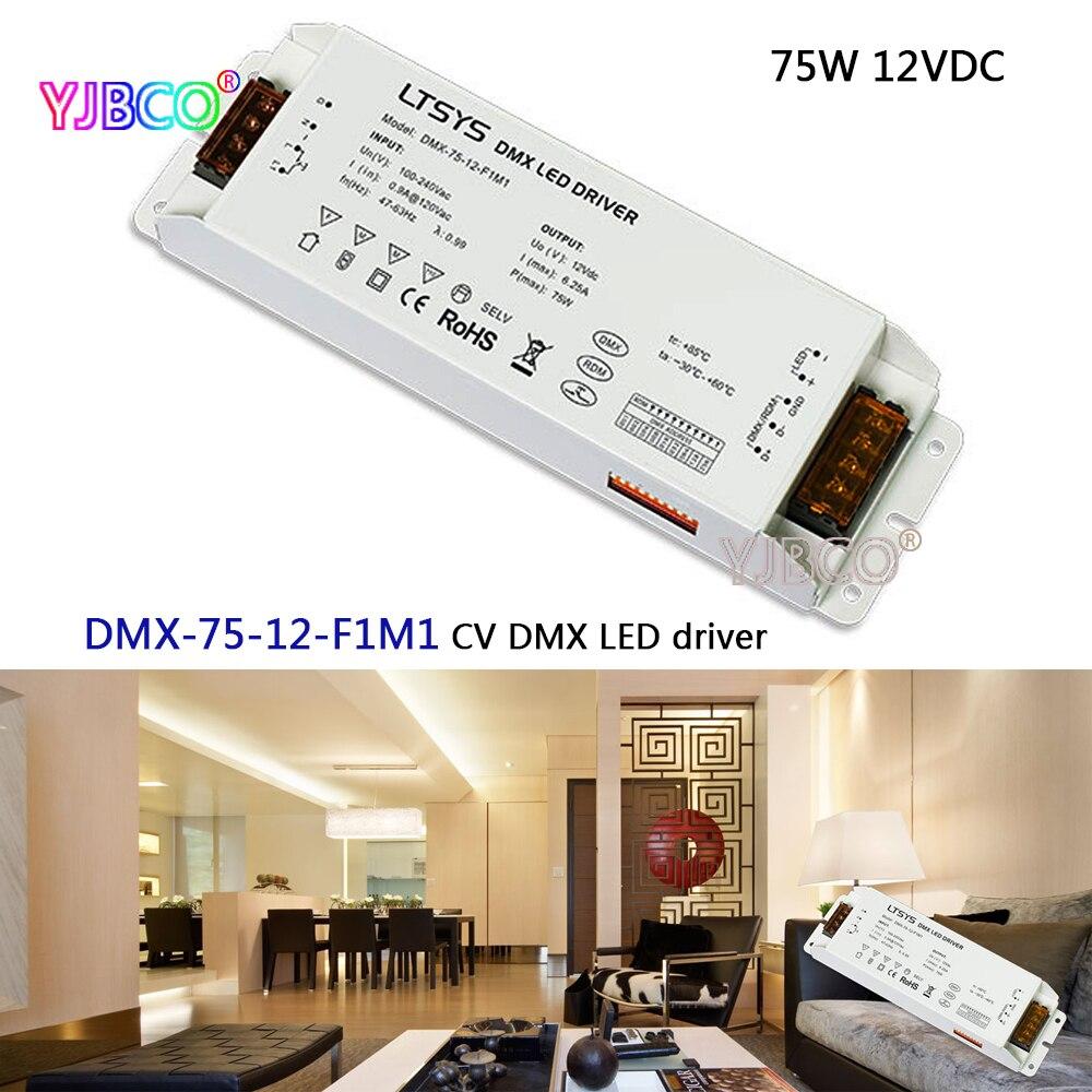 led dimming intelligent driver;DMX-75-12-F1M1;AC100-240V input 12V/6.25A/75W DMX512/RDM output CV DMX LED driver led dimming intelligent driver dmx 75 12 f1m1 ac100 240v input 12v 6 25a 75w dmx512 rdm output cv dmx led driver