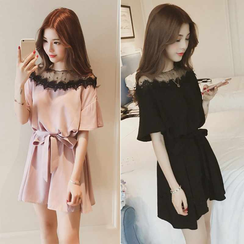 2019 large size women's summer dress new fat mm slim cover belly fat sister in the long paragraph lace bow embellished dress2