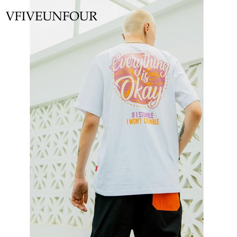 VFIVEUNFOUR cotton Tshirts character pattern Tees Streetwear Mens Hip Hop Casual Short Sleeve T Shirts Harajuku Male Tops