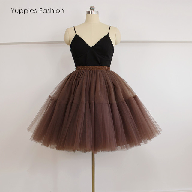 Yuppies Fashion 5 Layers Midi Tulle Skirt Vintage Tutu Skirts Womens Lolita Petticoat faldas de tull Mujer Saias Jupe YFS040155