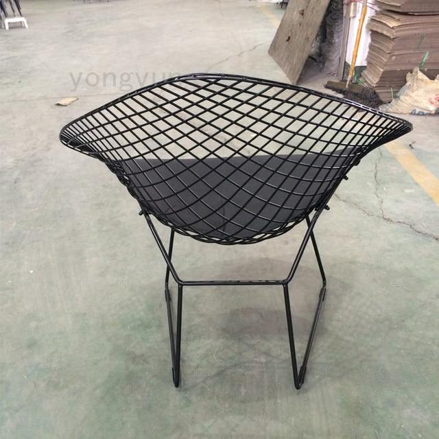 Leisure Chair Diamond Steel Wire Chair Minimalist Modern Wire Chair Bertoia  Diamond Chair Cushion Powderco Black