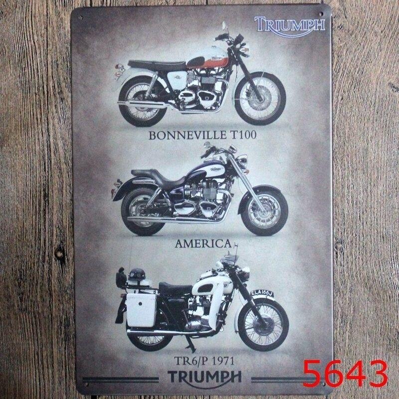 "8""""x12"" Metal Tin Sign Triumph Motorcycle Bar Pub Home Vintage Retro Poster Cafe Art Decor"