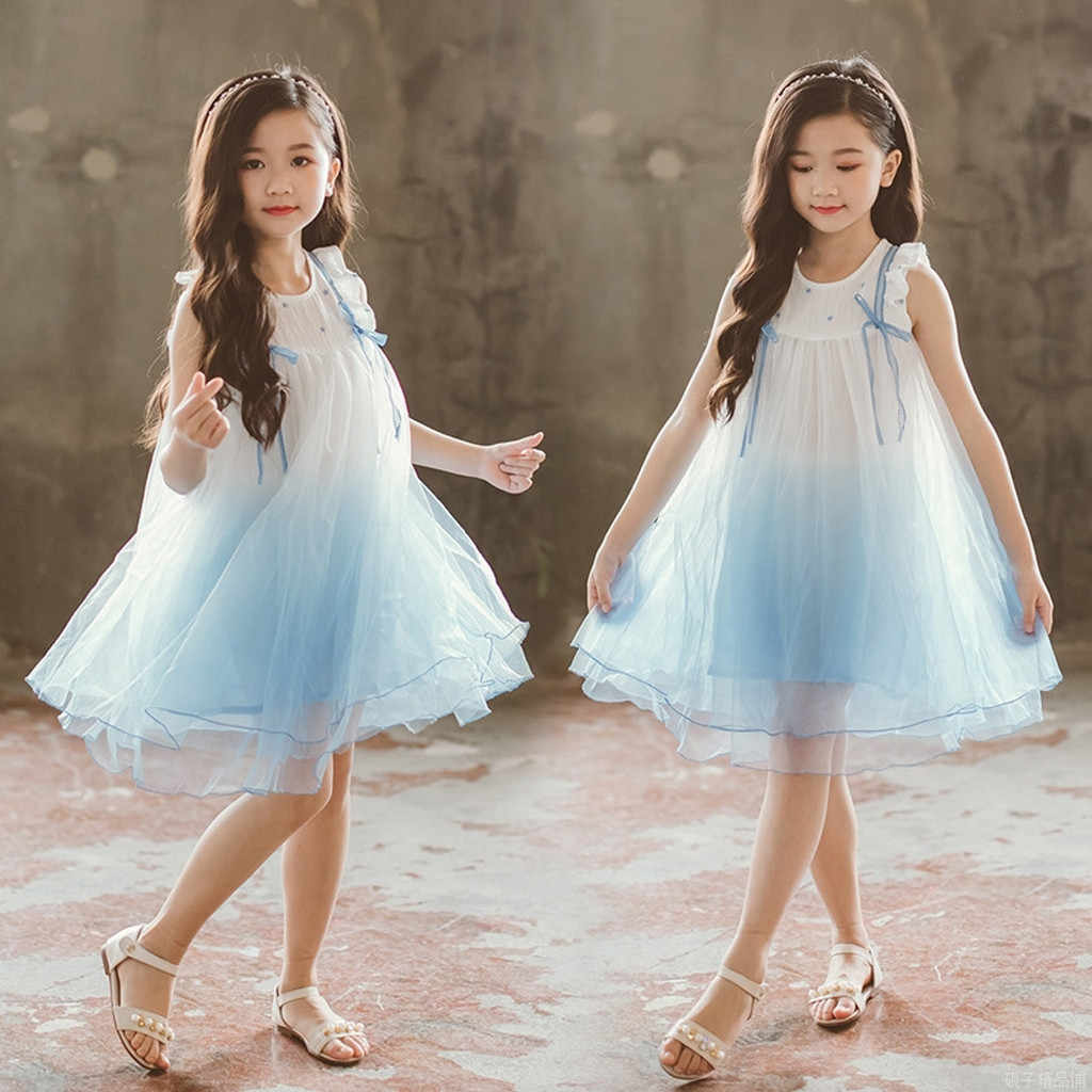 2019 fashion Toddler Kids Girls Dress elegant Tulle baby dresses Gradient  color baby dress Party Pageant baby Dresses elbise