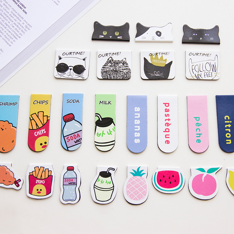 Cute Cat Fries Fruit Milk Magnetic Bookmarks Books Marker Of Page Stationery School Office Supply Student Rewarding Prize