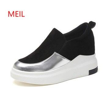 Desain Wanita Sneakers Flats Musim Panas Musim Gugur Kasual Creepers Wanita Platform Kulit Sepatu Wanita Wedges Sepatu Zapatos Mujer