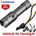 3800 Lumens Powerful LED Flashlight CREE T6 Rechagerable Keychain Torch 3 Modes Tactical Flashlight  Zoomable Torche Lampe ZK93