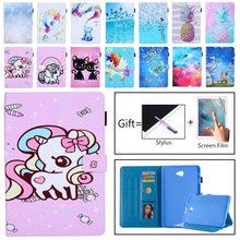 SM-T580 SM-T585 Case for Samsung Galaxy Tab A A6 10.1 2016 T580 T585 Cover Smart Painted Cat Unicorn Case for Samsung Tab A 10.1 цена и фото