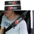 2 unids Negro Hombros Del Cinturón de seguridad De Fibra De Carbono Del Coche Camión Almohadilla Cubierta SLINE Para AUDI A1 A3 A4 A5 A6 A7 A8 Q3 Q5 Q7 R8 TT RS