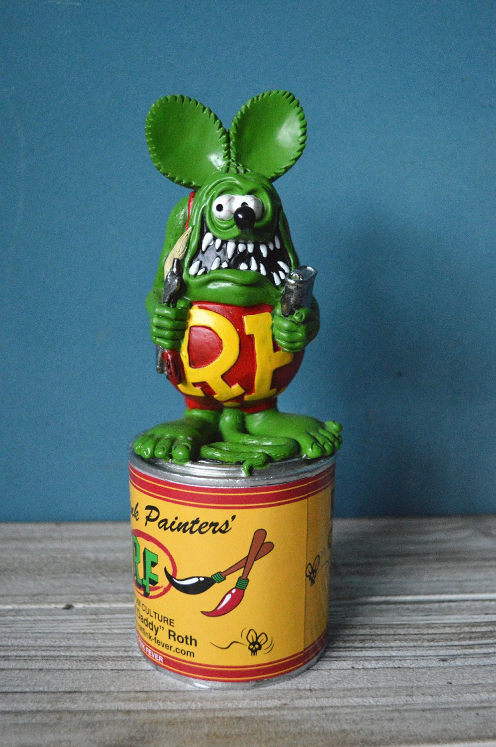21*8cm PUNK RF Rat Fink custom can Action Figure decoration Doll with  box terror cartoon Halloween key chain d12 ontario knife rat 1