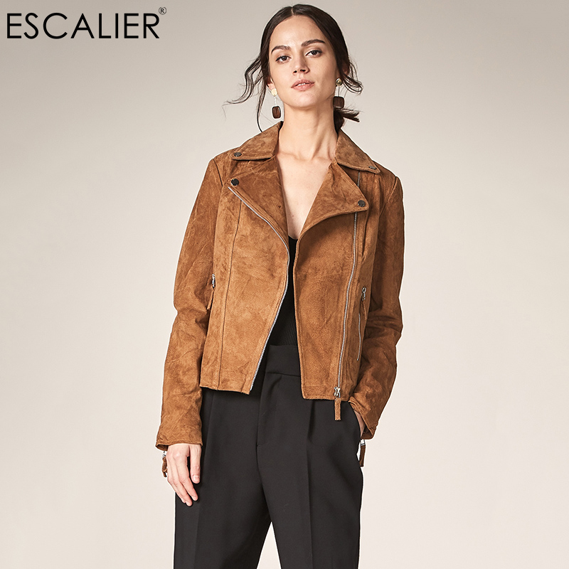 Escalier 2017 Fashion Genuine Leather Jacket Women Zipper Slim Motorcycle Outerwear Coats Turn down Collar Basic