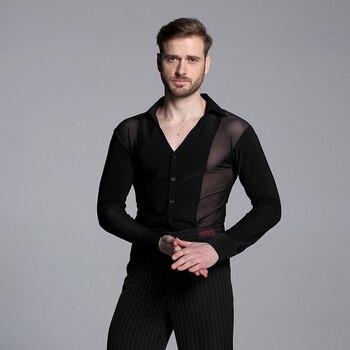 New 2018 Men Black Perspective Competition Waltz Latin Dance Top Men Latin Dance Shirts Men Ballroom Dance Shirts