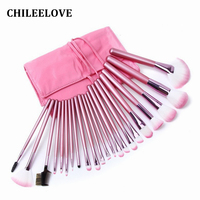 CHILEELOVE Pearl Pink 22 Pcs Professional Makeup Brushes Kit Facial Blush Foundation Blending Powder Makeover Cosmetics
