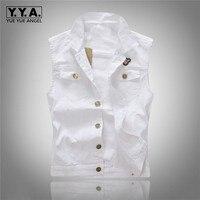 2015 Autumn Fashion Mens Cotton Slim Fit Vest Jean Jacket Sleeveless Shirt Causal Button White Coat