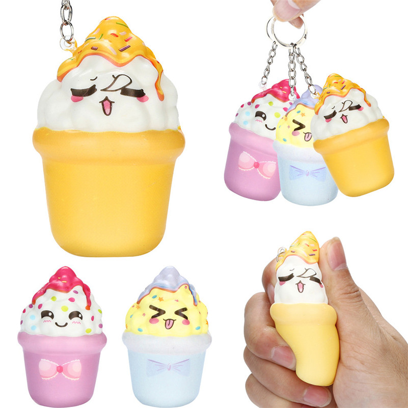 1pc Squishies Kawaii Ice Cream Slow Rising Cream Scented Keychain Stress Relief Toys Anti-stress For Kid QA