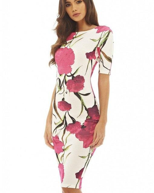 54cb5edfca439 Vestido de mujer elegante estampado Floral trabajo informal fiesta verano  moda Vestidos 106-12