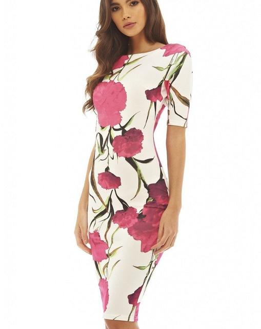 7f20fd7e36 Women Dress Elegant Floral Print Work Business Casual Party Summer Fashion Sheath  Vestidos 106-12