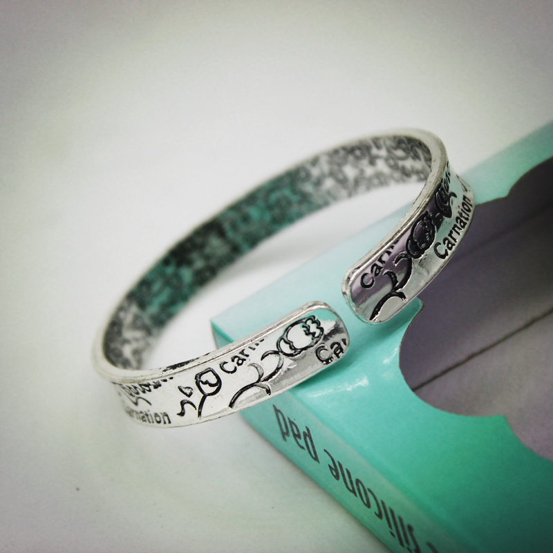 Brand New Designer boho antic silver cuff copper bangle, bohemia antalya carve carnation flower pattern Statement bangle